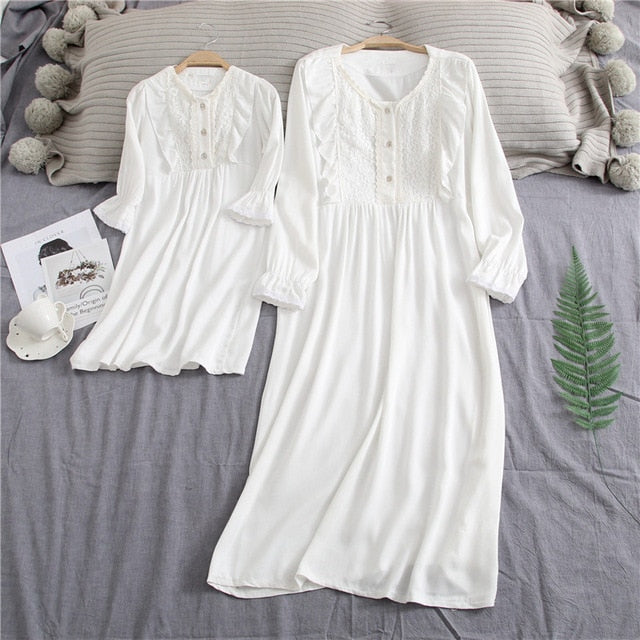 Family Pajamas Sleeping Skirt Sweet Princess Mother and Daughter