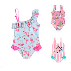 Kids Swimwear Bodysuit Unicorn Flamingo