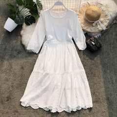 Summer New Round-necked Loose Doll White Lace Dress Women