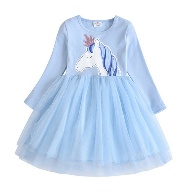 DXTON Girls Dresses Toddler Girls Unicorn Clothes Kids Dress For Girl Winter Princess Dress Costume Children Cotton Clothes