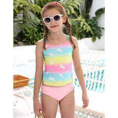 Swimsuit for Girls Two-piece Tankini Swimsuit Children Girls Colorful Unicorn Printed Swim Tops Briefs Bikini Set Bathing Suits