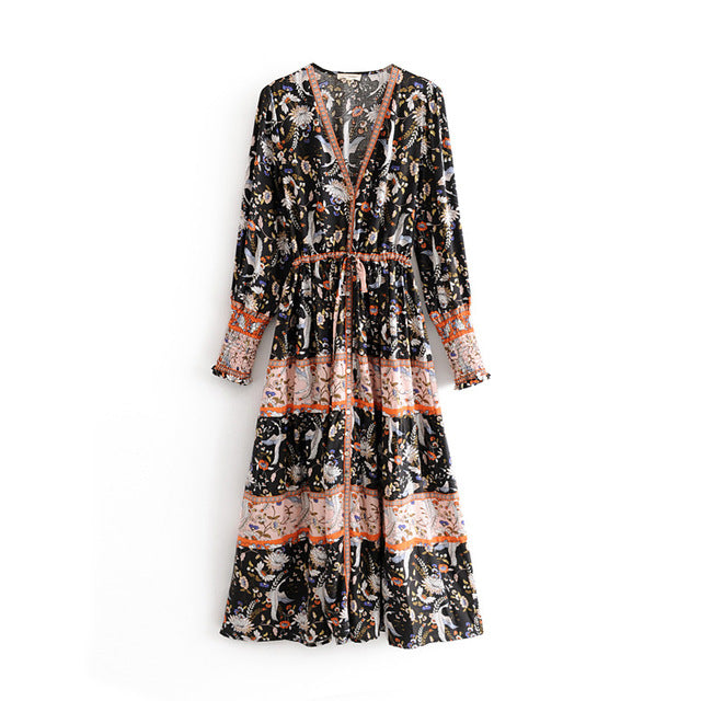 Floral Printed Cotton Dresses Retro Gypsy