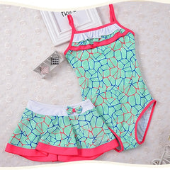 Kid Beachwear+Skirt 2020 New Swimwear Cute Baby Girls Print Patchwork