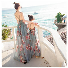 Summer Tank Mesh Mother Daughter Dresses