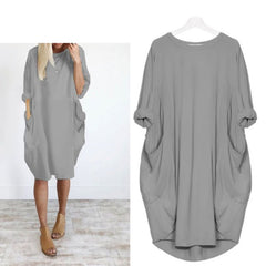 Womens Plus Size Spring Long Sleeve Pockets Hoodie Loose Baggy Midi Dress