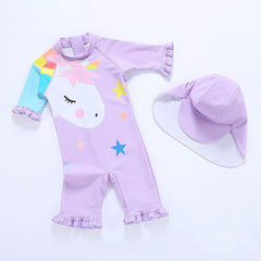 2019 1~5Year Girls Swimsuit One Piece Girls Swimwear Purple Unicorn