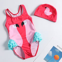 2019 Girl One-Piece Ruffle Swimwear with Cap Children Girls Beach Sport Surf Swim Bathing Suits Little Girls Unicorn Swimsuit