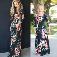Mother Daughter Floral Girls Dress Family Matching