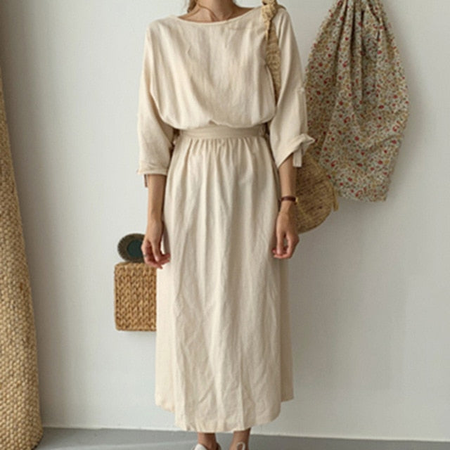 Summer Plain Long Dress Women 2020