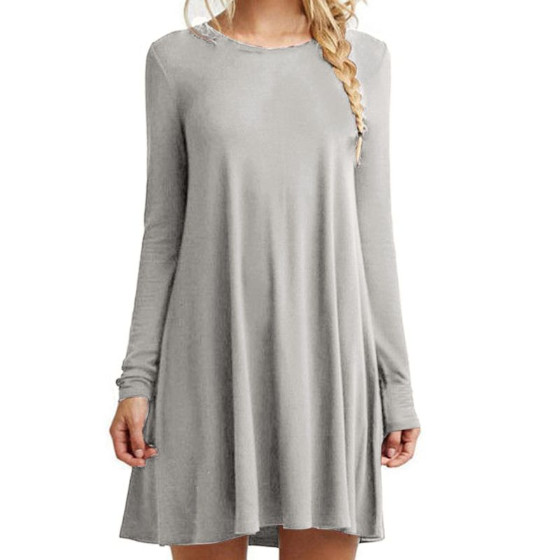 Womens Plus Size Long Sleeve Loose Midi Long T-Shirt Dress