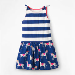 Little Maven 2020 Summer New Short sleeve Kids Girls Clothes Children kids girl Cute Strpes Unicorn dress Dresses 2-7 Years