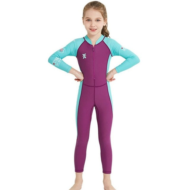 One-piece Kids Diving Suit Wetsuit Children for Boys Girls Sunscreen Long Sleeves UV protection Swimwear Kid Snorkel Swim Suit