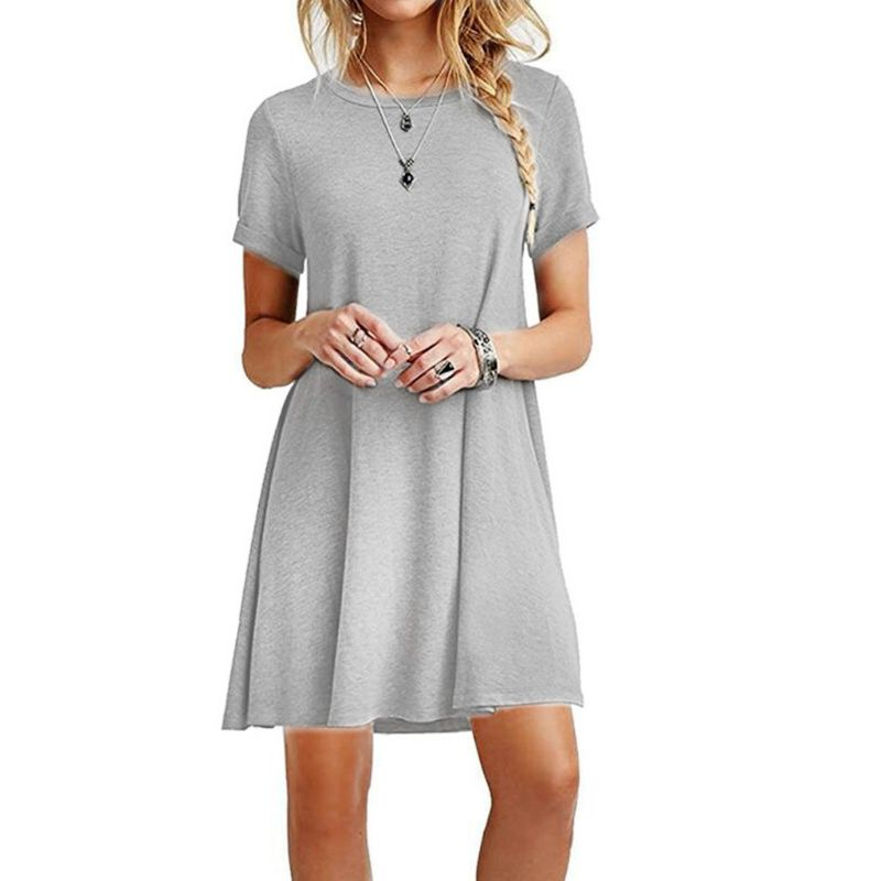 Woman Summer Dress Short Sleeves Midi Swing T-Shirt Dress