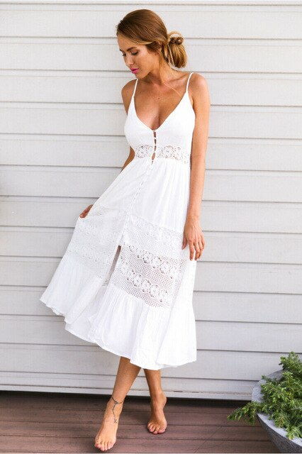 Dress Beach Dress Sundress White Sweet