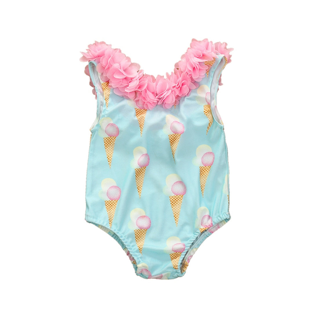 1-5Y Infant Kids Girls One Piece Bikini Swimwear Ruffles Floral Ice Cream Print Sleeveless Beachwear Clothes