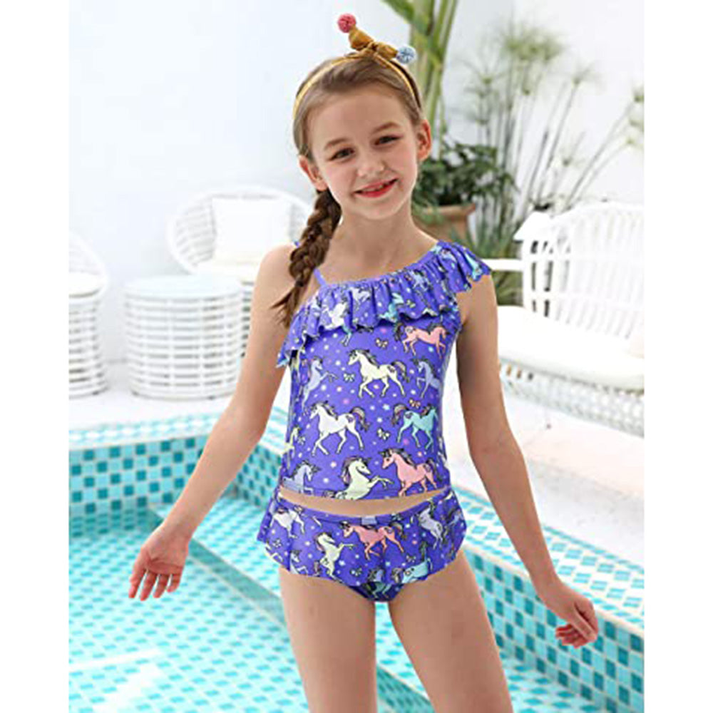 Big Girls Ruffle Flounce Swimwear Printed