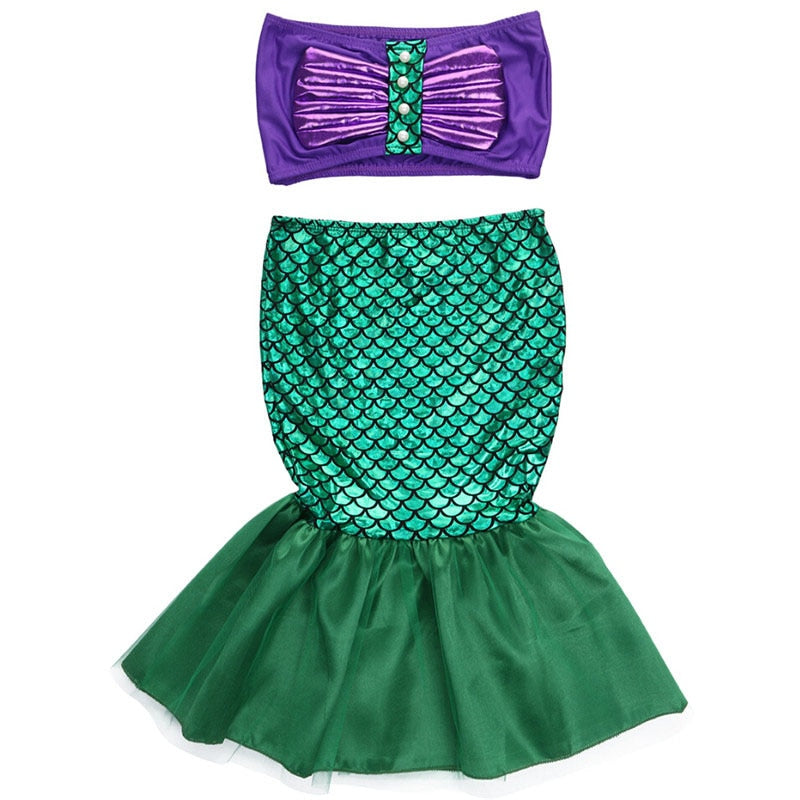2020 Mermaid Swimsuit Kids Baby Girls Cosplay Two Pieces