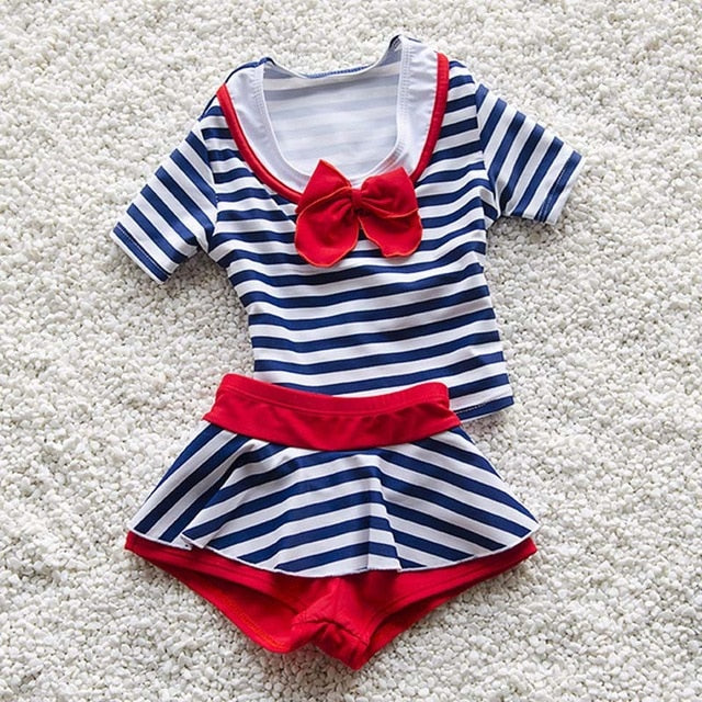 Navy Striped Swimsuits For Girls Two Pieces Swimming Suit