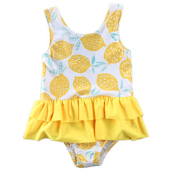 1-5Y Infant Kids Baby Girls One Piece Swimsuit Lemon