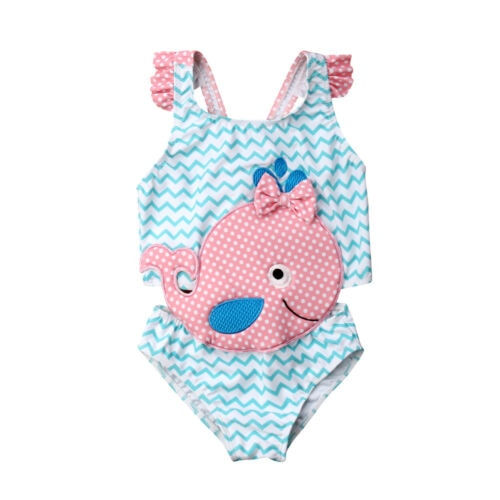 Brand New Toddler Kids Baby Girl 3D Whale Swimwear One -Piece