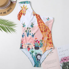Swimsuit women 2020 swimwear one piece printed