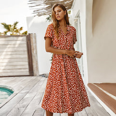 Summer Dress Short Sleeve Single-Breasted Bohemian Midi Dresses