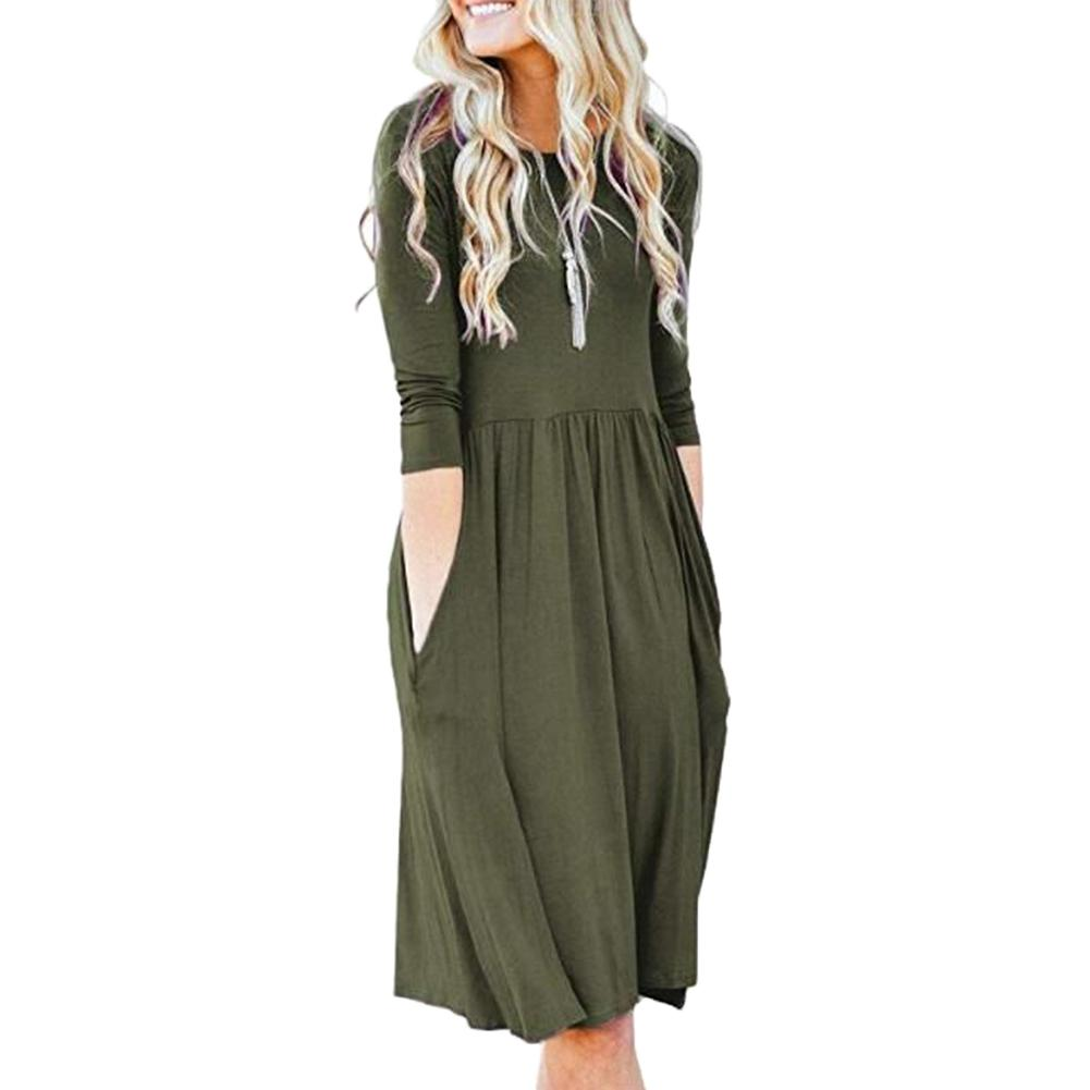 Casual Women Solid Color Pleated Pocket Round Neck Long Sleeve Loose Midi Dress