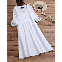 5Xl Plus Size Loose Women Shirt Cotton Linen Dress