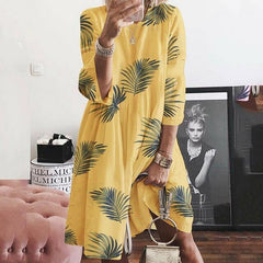 Plus Size Women Loose Floral Baggy Midi