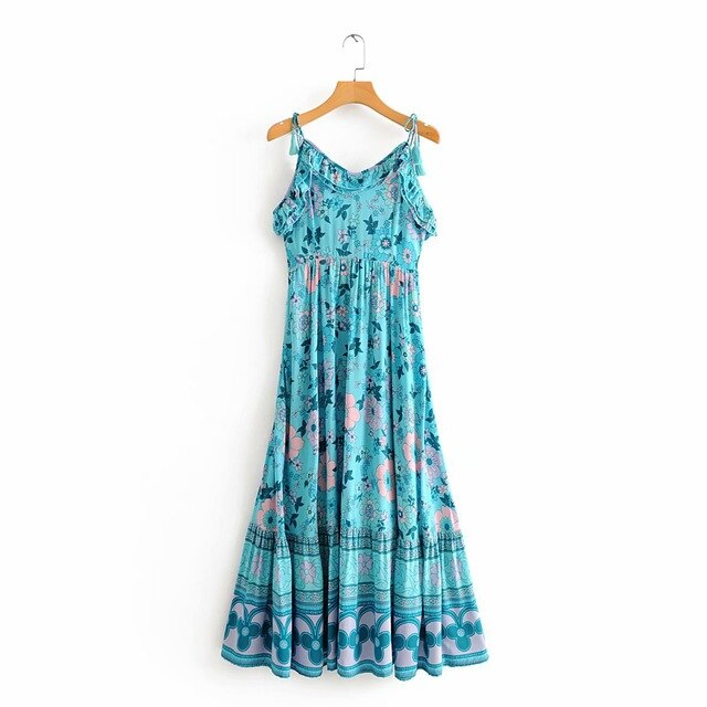 blue floral boho dress women