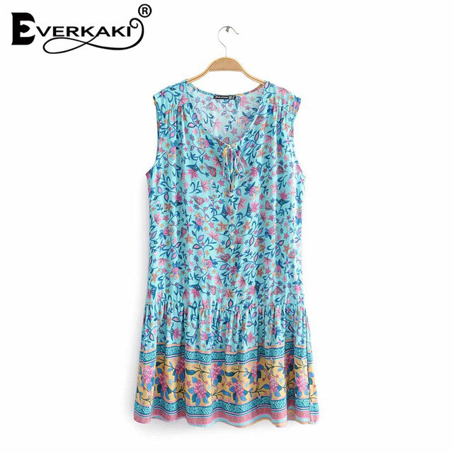 Boho Short Dress Women Floral Print