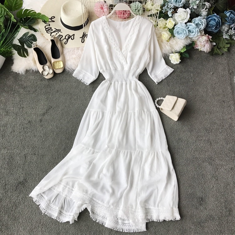 2020 new fashion women's dresses closed Waist long beach summer white dress