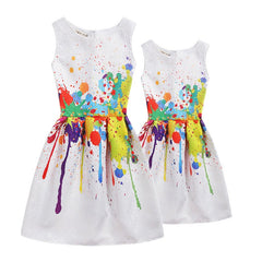 Family Look mother and daughter dresses Clothes matching outfits Girl New Print Formal Dresses Sleeveless Party Dress mere fille