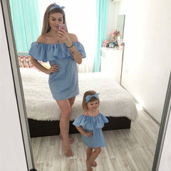 Mother daughter dresses 2019 Fashion strapless dress family clothing summer mommy and me clothes fashion family matching outfits