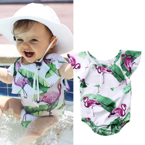 2018 Hot 0-4T Baby Girls Swimwear Ruffles Style Cartoon Printed One-Piece Swimsuits Bikini Beach Bathig Suits