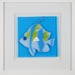 This white angel fish with turquoise and yellow accents has a dichroic glass eye that sparkles in the light. It is on a turquoise glass background and  it in a 10 x 10 double-matted white frame. It is for pickup only in Toronto and cannot be shipped. It costs $145.