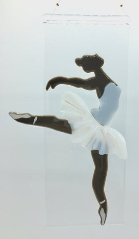 "glass fusion ballerina, arabesque position,10""x4"""