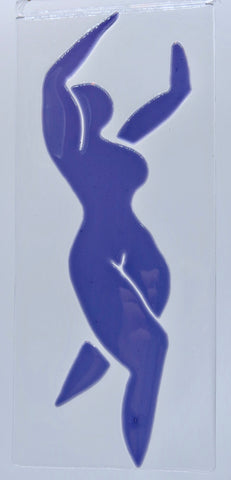 "The first of my Matisse inspired purple dancing women, Faith, measures 4"" x 10"" (10cm x 25.5cm)"