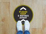 Circular Floor Stickers - Please Keep 2m Apart