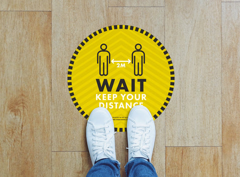 Circular Floor Stickers - Wait Keep Your Distance