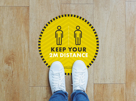 Circular Floor Stickers - Keep Your 2m Distance