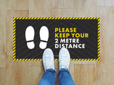Rectangular Floor Stickers - Please Keep Your 2m Distance