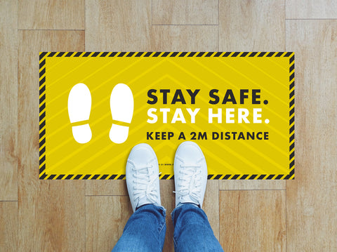 Rectangular Floor Stickers - Stay Safe Stay Here
