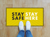 Rectangular Floor Stickers - Stay Safe Stay Here 2