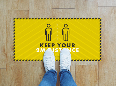 Rectangular Floor Stickers - Keep Your 2m Distance