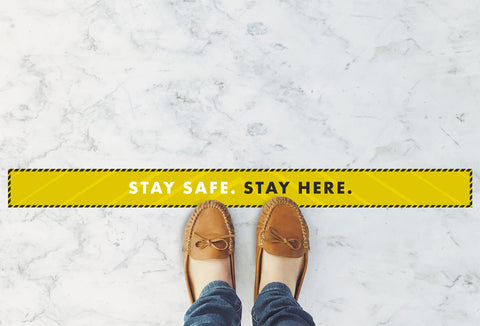 Large Strips Floor Stickers - Stay Safe Stay Here