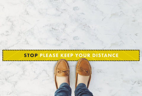 Large Strips Floor Stickers - Stop Please Keep Your Distance