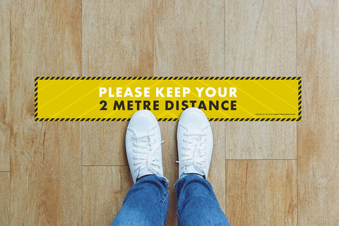 Small Strips Floor Stickers - Please Keep Your 2m Distance