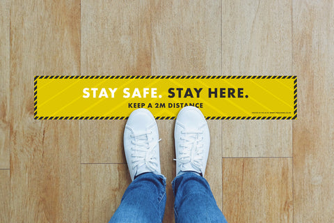 Small Strips Floor Stickers - Stay Safe Stay Here
