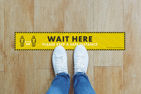 Small Strips Floor Stickers - Wait Here To Keep A Safe Distance